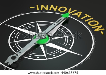 Innovation compass concept, 3D rendering - stock photo