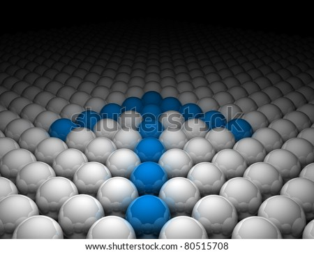 Innovation concept - arrow made of spheres - stock photo
