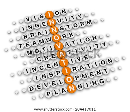 innovation concept (orange-white crossword puzzles series) - stock photo