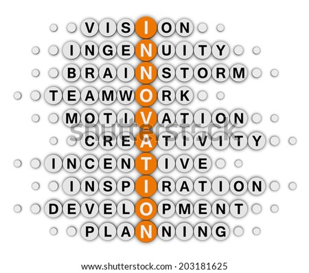 innovation concept (orange-white crossword series) - stock photo