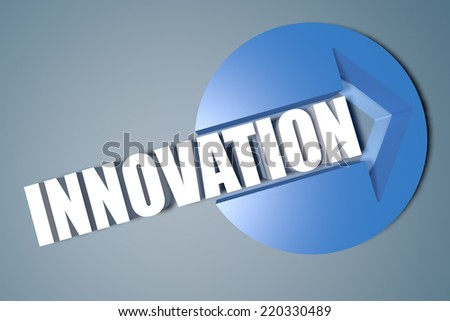 Innovation - 3d text render illustration concept with a arrow in a circle on blue-grey background - stock photo