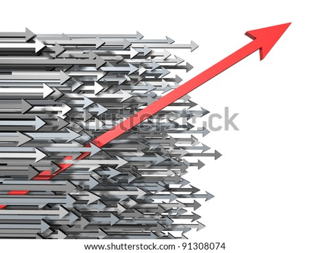 Innovation growth and Success breaking through moving up and standing out from the crowd with clear focus as a new diagonal red arrow leading the race with old horizontal grey arrows. - stock photo