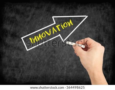 Innovation - hand writing text on chalkboard - stock photo