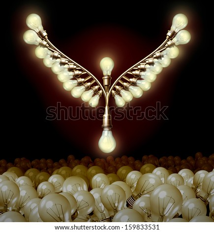 Innovation success as a business metaphor for creativity taking off as a group of light bulbs shaped as bird wings rising up from a bulb mountain icon from power of imagination and human creativity. - stock photo