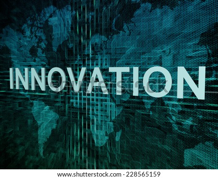 Innovation text concept on green digital world map background  - stock photo