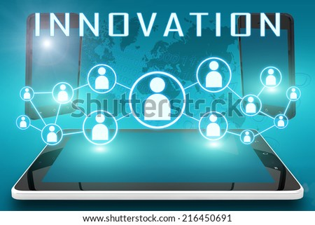 Innovation - text illustration with social icons and tablet computer and mobile cellphones on cyan digital world map background - stock photo