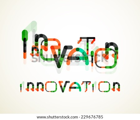 Innovation word concept, minimal line design - stock photo