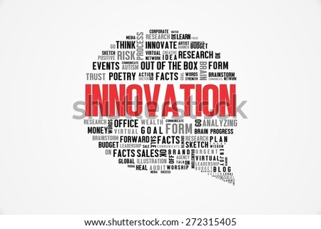 INNOVATION word on speech bubble with white background color - stock photo