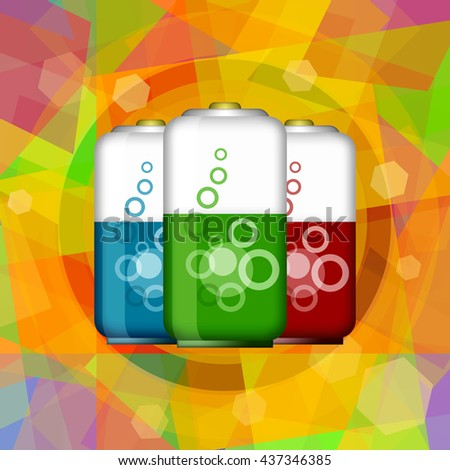 Innovative batteries on abstract hi tech background - stock photo
