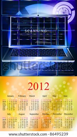 Innovative computer technologies. 2012 Calendar.Format A3 - stock photo
