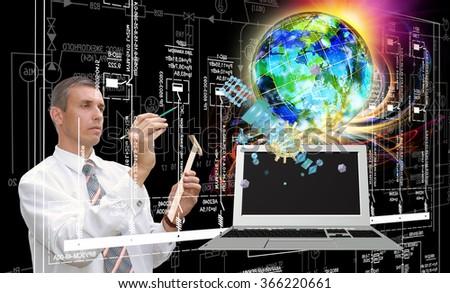 Innovative computer telecommunications technology  - stock photo