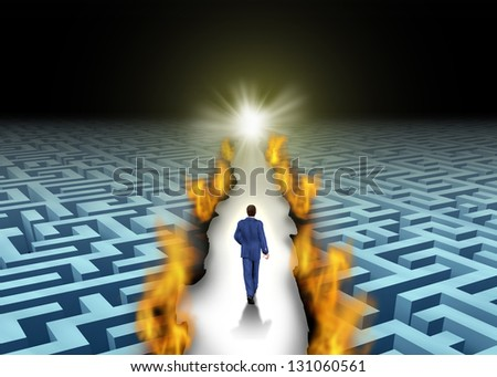 Innovative leadership and trail blazing or trailblazing business concept with a businessman walking through a maze or labyrinth that is open due to a burning path as a symbol of creative solutions. - stock photo