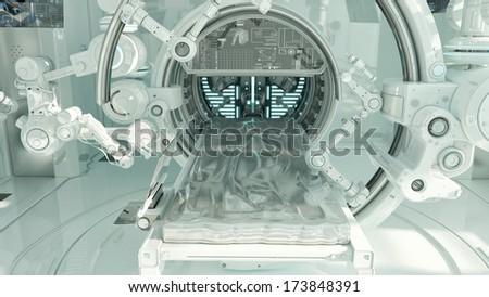 Innovative medical MRI table / Futuristic hi-tech medical devices for diagnostic  - stock photo