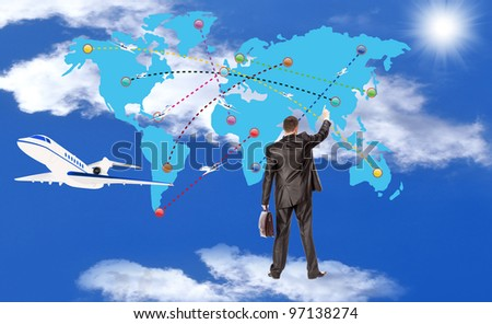 Innovative navigating program complexes of management of air air liners - stock photo