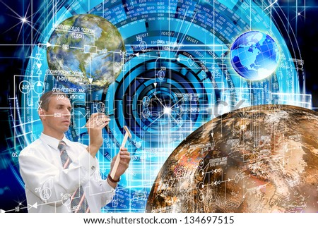 Innovative space research in the development of galactic space - stock photo