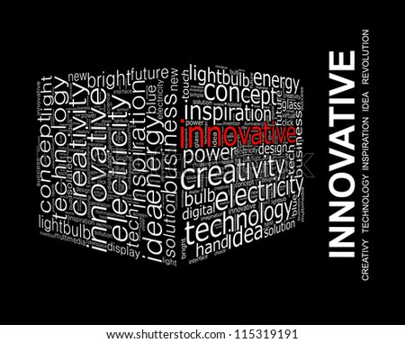 INNOVATIVE. Word collage on black background - stock photo