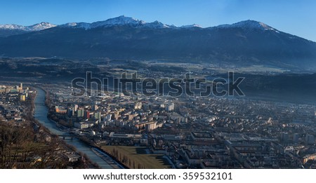 innsbruck aerial view landscape panorama on winter sunny day