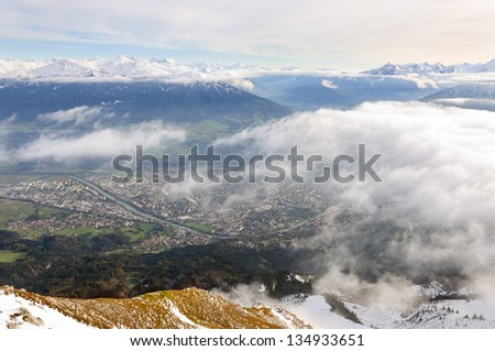 Innsbruck and snowy mountains
