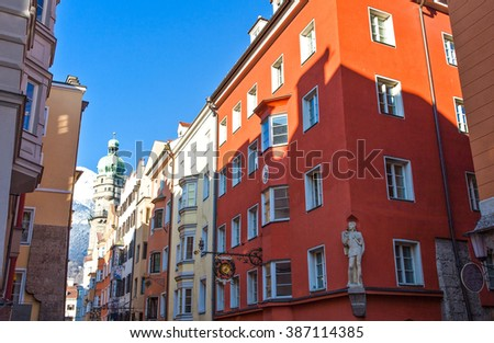 Innsbruck, Austria - February 8, 2010: The traditional architecture of  Friedrich Strasse