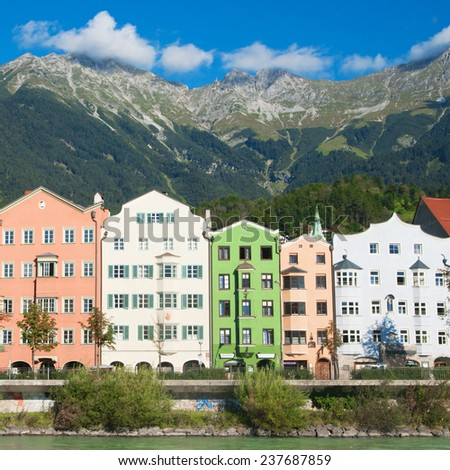 Innsbruck, Austria, house on the banks of the River Inn - stock photo