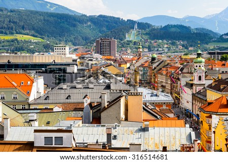 INNSBRUCK, AUSTRIA - JULY 4, 2015: Aerial panorama of the center of Innsbruck, Austria. Innsbruck is the capital city of the federal state of Tyrol (Tirol)