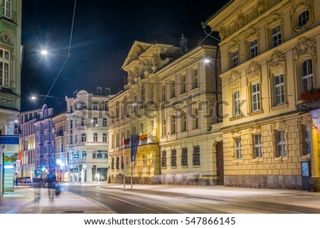 INNSBRUCK, AUSTRIA, JULY 26, 2016: Night view of the Altes Landhaus in Innsbruck, Austria.