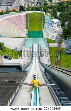 INNSBRUCK, AUSTRIA - JUNE 2, 2016: Bergiselschanze ski jumping hill tower, designed by the British Iraqi architect Zaha Hadid in Bergisel in Innsbruck, Austria.