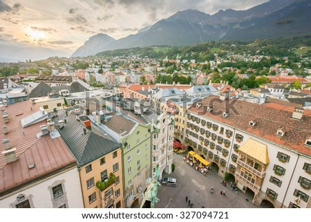 INNSBRUCK, AUSTRIA - SEPTEMBER 22: View over the city of Innsbruck, Austria on September 22, 2015. Innsbruck is the capital of Tyrol. Foto taken from Stadtturm with view to the west. - stock photo