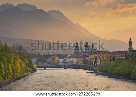 Innsbruck. Image of Innsbruck, Austria during dramatic sunrise. - stock photo