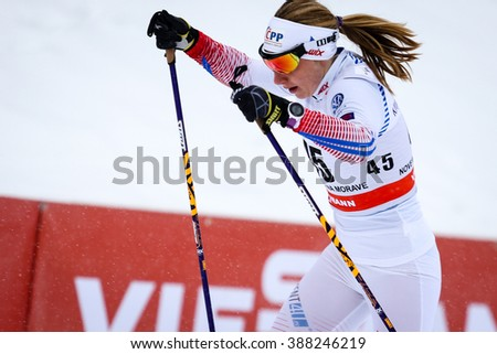 INove Mesto na Morave, Czech Republic - January 23, 2016: FIS Cross Country World Cup, women distance 10km competition. GROHOVA Karolina (45)