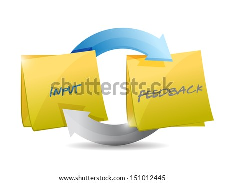 input and feedback cycle illustration design over white - stock photo