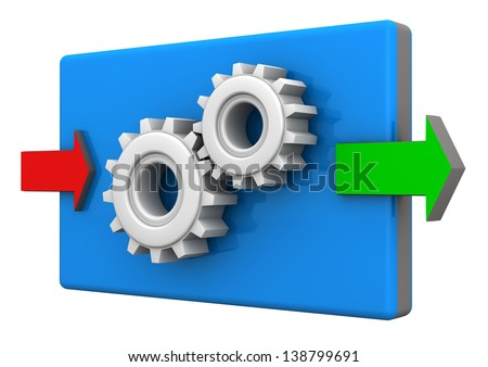 Input and ouput arrows with gears on the white background. - stock photo
