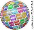Input word on tiles in a globe, sphere or ball to illustrate comments, information, reviews and ideas submitted by workers, employees, or customers - stock photo