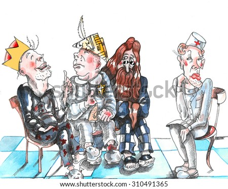 Insane men are sitting in asylum. They are talking with each other. The one thinks that he is a king, another is a Napoleon, the third is John Lennon. The doctor looks critically and envious - stock photo