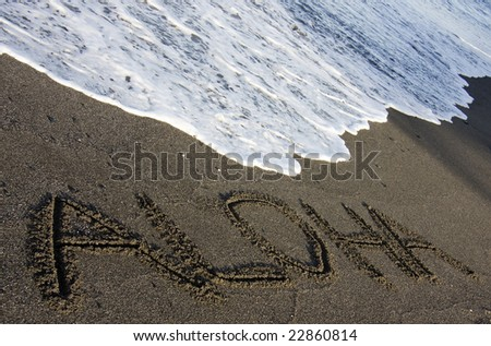 Inscribed on black sand tide coming stock photo 22860814 shutterstock inscribed on black sand with the tide coming in is the traditional hawaiian greeting of aloha m4hsunfo