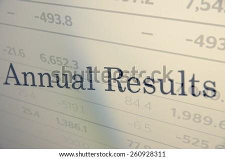 "Inscription ""Annual report"" on PC screen. Financial concept. - stock photo"