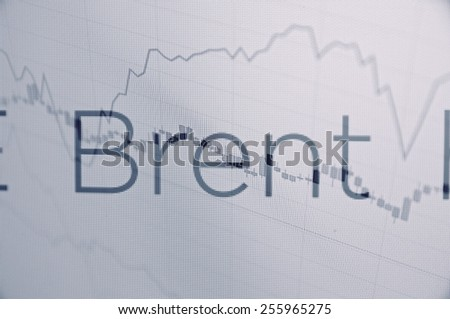 """Inscription """"Brent"""" on PC screen. Brent major benchmark price for purchases of oil worldwide. Stock chart as background. Business concept. - stock photo"""