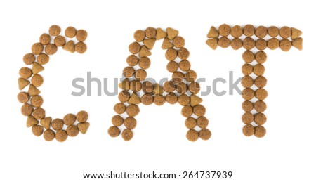 Inscription CAT composed of dry cat food isolated on white background