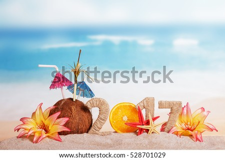 Inscription 2017 decorated Christmas coconut, orange and tropical flowers in the sand on background of ocean