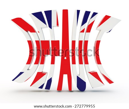 """Inscription """"default"""" with a flag of the United Kingdom - stock photo"""