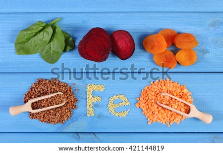 Inscription Fe, ingredients and products containing iron and dietary fiber, natural sources of ferrum, healthy food and nutrition - stock photo
