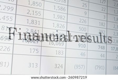 "Inscription ""Financial results"" on PC screen. Financial concept. - stock photo"