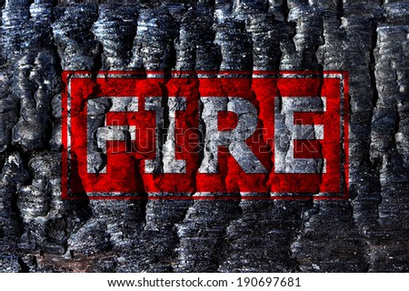 Inscription fire burnt wood (wooden) background       - stock photo