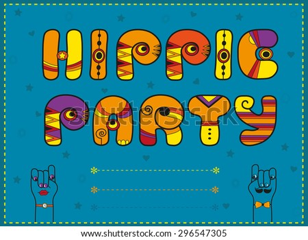 Inscription Hippie Party. Funny orange Letters with bright parts - stock photo