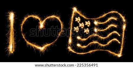 Inscription I love flag of USA made of sparkles on black background - stock photo