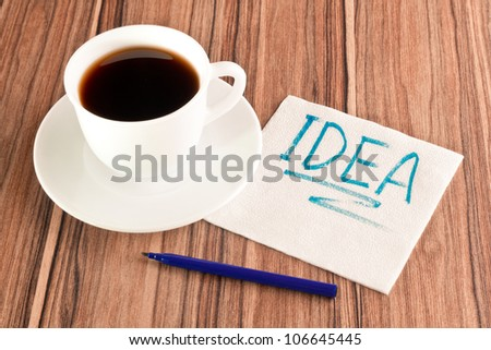 Inscription Idea on a napkin and cup of coffee - stock photo