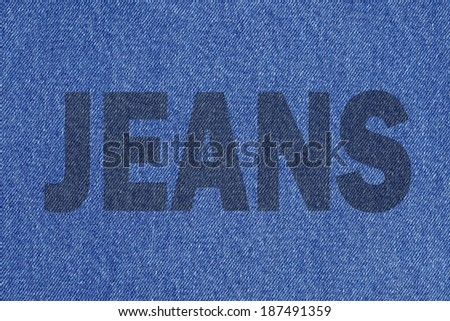 Inscription Jeans on jeans background