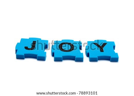 Inscription of colorful puzzles - Joy, isolated on white.