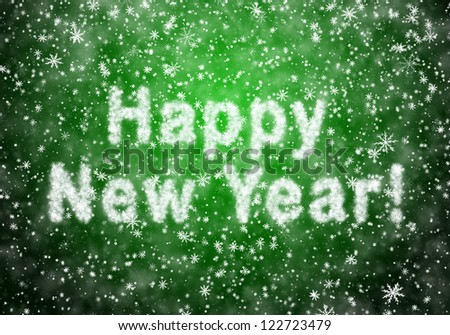 Inscription of Happy New Year from snowflakes - stock photo