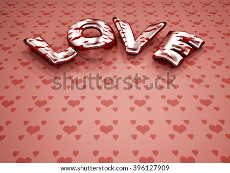 Inscription of LOVE. 3D illustration.